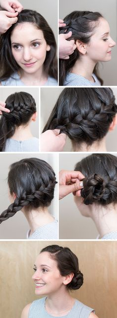 We are loving this elegant french braid pulled into a side bun. Try it if you have straight, curly or wavy hair. This is the perfect look for bridesmaids and flower girls!