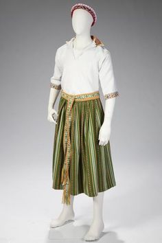 Latvian national costume which uses traditional patterns from the Dignaja Region, 1980's.