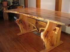 Live Edge Quartersawn Red Oak/Cherry Trestle Dining Table With Personality!