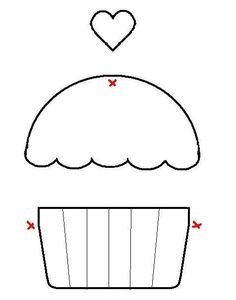 Applique Cupcake Template - maybe for birthdays Felt Crafts, Fabric Crafts, Paper Crafts, Template Cupcake, Crown Template, Heart Template, Flower Template, Butterfly Template, Cupcake Card