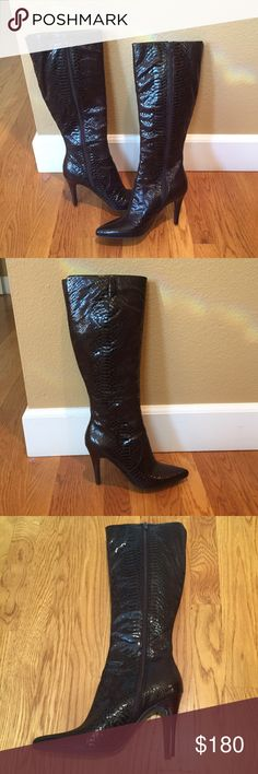 """The most gorgeous boots!! Beautiful brown patent leather boots that have a croc pattern that is a real show stopper. They fit very nicely around the calf and come all the way up below the knee. The heel is 4"""". Worn only once indoors so they are pretty much brand new. A great addition to your closet  Nine West Shoes Heeled Boots"""