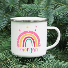 Kids Rainbow Enamel Mug Personalized with an adorable colorful rainbow.  KidsPartyWorks