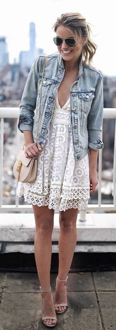 #spring #outfitsDenim Jacket & White Lace Dress & Nude Sandals