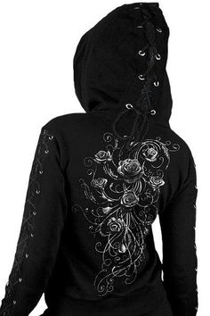 Entwined Rose Lace-up Ladies Hoodie Top: