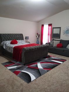 burgundy living room decor Not a fan of the color red, but this bedroom is cute. Red Bedroom Design, Red Bedroom Decor, Black And Grey Bedroom, Bedroom Decor For Couples, Small Room Bedroom, Bedroom Colors, Home Bedroom, Living Room Decor, Interior Design