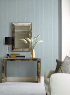 York Wallcovering: Social Club Stripe from the new Stripes Resource Library Striped Wallpaper Blue, Stripped Wallpaper, Cafe Interior, Luxury Interior, Modern Interior, Classic Library, Blue Wallpapers, Social Club, Pattern Wallpaper