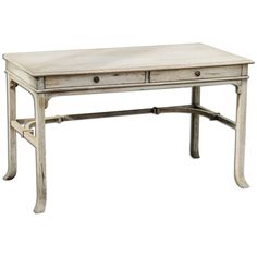 Uttermost 25602 Bridgely Aged Writing Desk. Aged white finish with antique brass drawer pulls. Mango Wood with Carb MDF construction. Bridgely collection.