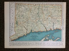 Antique Map of CT.possibly include FL and GA for wall decor in the office Vintage Maps, Vintage Items, The Knick, Map Projects, Orange And Turquoise, Connecticut, Unique Art, Sculptures, Design Inspiration