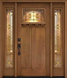 Make a grand entrance with Clopay's Craftsman Collection low-maintenance stained fiberglass fir grain entry door with Cimarron glass and sidelites.