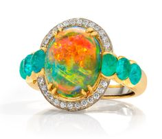 EF Watermelon Gallery Opal Surrounded by diamonds and Paraiba tourmalines