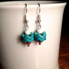 Turquoise Chevron Earrings Red White & Blue by ElizabethsTrinkets