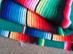 Vintage Mexican Blanket Rainbow Green Bright by QUIVERreclaimed
