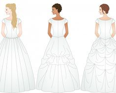 3 different examples of ways to bustle a wedding dress http://www.helpmefindaweddingdress.com/components-of-a-wedding-dress/best-types-of-bustle-for-my-wedding-dress/
