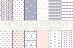 Modern Digital Paper, Dusty Blue and Blush, Geometric Patterns, Digital Background, Scrapbook Paper, Triangles, Card Design, Web Design