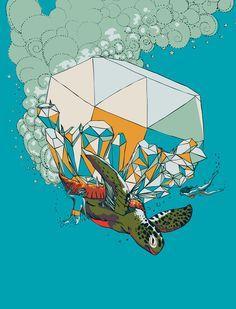 TURTLE& THE DIAMONDS Art Print
