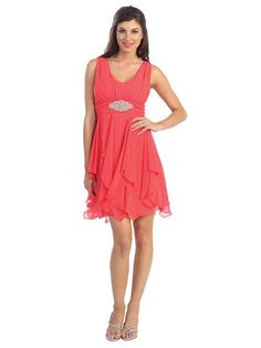 A Slim Fitting Sleeveless Cocktail Short Prom Dress With Scoop Neck And Beautiful Brooch On The Waist
