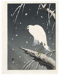 Heron on a Snowy Night by Nisaburo Ito (1910 - 1988). ukiyoe japan decoration antique fineart home decor collectible japanese woodblock print handmade home art beautiful decorative