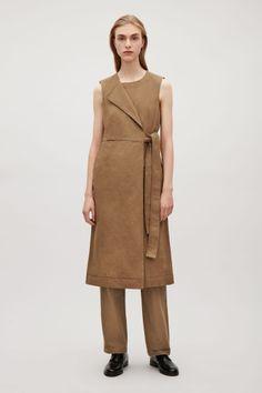 COS image 1 of Wrap-over canvas dress in Dark Beige