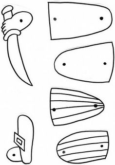 Pantin  de pirate à construire (2ème partie). Découper les contours. Mettre des attaches parisiennes sur les ronds en assemblant les deux parties correspondantes.