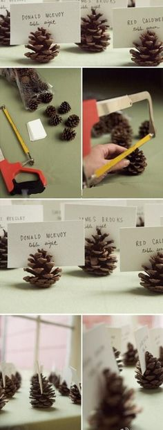 Pine cone name tag holders! Such a cute idea, especially for a rustic themes wedding
