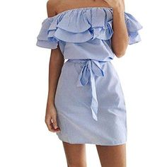 Oferta: 9.99€. Comprar Ofertas de Vestido Amlaiworld Mujeres de hombro vestido de volantes de rayas con cinturón (Tamaño Asiático: S, Azul) barato. ¡Mira las ofertas!