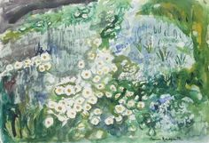 Anne Redpath, flowers by a pool