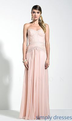 Floor Length Strapless Sweetheart Dress by Mignon at SimplyDresses.com