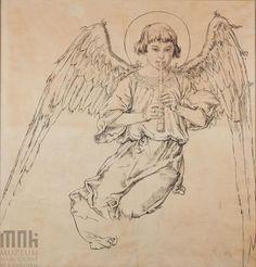 Karton do polichromii Kościoła Mariackiego - Postać anioła grającego na flecie