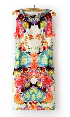 Cute Cheap Sleeveless floral dress WQZ9328 - Sleeveless Online Shopping Free Shipping