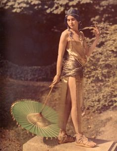 Denise Poiret - autochrome photo taken by Paul Poiret showing her in costume. Likely to be 1910s but no date.