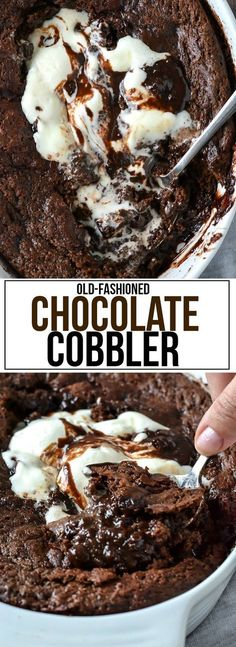 An easy recipe for warm and gooey Old-Fashioned Chocolate Cobbler topped with creamy vanilla ice cream. This is the ultimate chocolate lovers dessert!