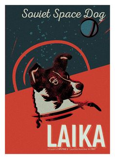 Space Dog Laika. Illustration Art Print. by InkermanCreative
