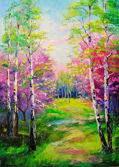 Buy Spring birch trees, Oil painting by Olha Darchuk on Artfinder. Discover thousands of other original paintings, prints, sculptures and photography from independent artists. Birch Trees Painting, Tree Watercolor Painting, Birch Tree Art, Spring Painting, Beautiful Landscape Paintings, Landscape Art, Spring Landscape, Image Nature, Gouache