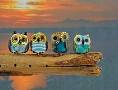 Tiny Forest owls........ lampwork set of 4 beads......... sra by DeniseAnnette on Etsy