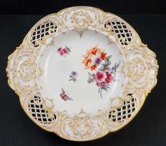 Antique Nouveau Porcelain KPM Berlin Reticulated Dish