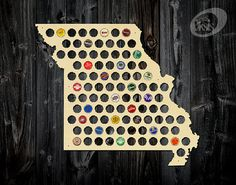 Missouri Beer Cap Map Made of Birch Plywood  Bottle Cap by Oksis