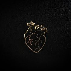 Gold Coeur Noir (Black Heart) Enamel Pin by Rose Pink Moon via Gimme Flair