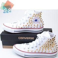 3d035c81cfb Stud Punk Rock Sexy Custom Genuine White Converse High Gold Spike Metal  Sneakers