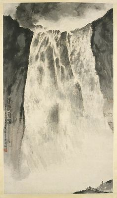 This strikingly simple, abstract composition captures the awe-inspiring grandeur of Changbai Falls, which flows from Heavenly Lake atop Changbai Mountain in Jilin. Only the tiny figures at the base of the falls provide a sense of scale Chinese Landscape Painting, Chinese Painting, Landscape Paintings, Landscapes, Japan Painting, Ink Painting, Waterfall Paintings, Paint Photography, Nanjing