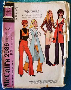 Vintage 1970's vest bolero pants trousers shorts sewing