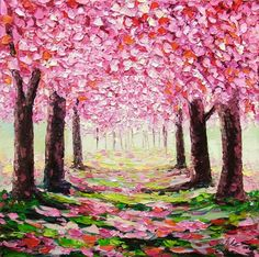 Cherry Blossom Tree Original Oil Painting Palette Knife Impasto Textured Pink Tree Wall Art on 12x12 Square Canvas Ready to Hang  Title: Cherry