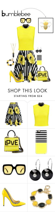 """""""Bumblebee (Yellow & Black) Outfit"""" by gabgirl54321 ❤ liked on Polyvore featuring Chicwish, Alexander Wang, Les Petits Joueurs, Casetify, Gucci, Trollbeads, TaylorSays and 1st & Gorgeous by Carolee"""