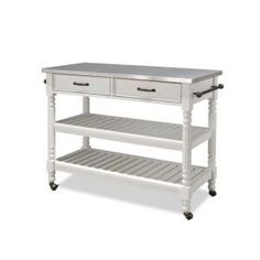 Home Styles Savannah Kitchen Cart in White with Stainless Top - Model # 5219-95 at The Home Depot