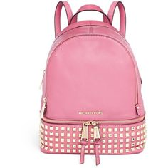 Michael Kors 'Rhea' small stud leather backpack ($360) ❤ liked on Polyvore featuring bags, backpacks, pink, accessories, bolsas, pink bag, genuine leather backpack, michael kors backpack, leather knapsack and pink backpack