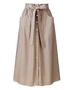 Paperbag Waist Linen Mix Skirt | Simply Be