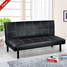 Sienna Black Faux Leather Click Clack 3 Seater Small Double Sofa Bed Sofabed