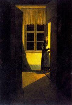 Woman with Candlestick, 1826, Caspar David Friedrich. German Romantic Painter, (1774-1840)