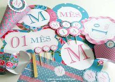 Kit mesversário. Tema:vintage Kit festa personalizada para comemorar o mesversário do seu bebê. Itens prontos para personalizar sua festa.