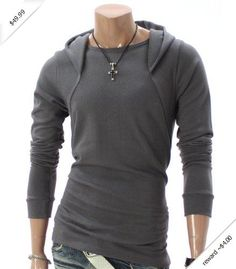 Doublju Mens Casual Long Sleeve Hoodie Shirt (010D)