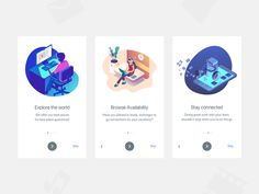 Walkthrough screens designed by khmelnitsky. the global community for designers and creative professionals. Mobile Ui Design, App Ui Design, User Interface Design, Flat Design, Onboarding App, Website Design Layout, Layout Design, Ui Design Inspiration, Application Design